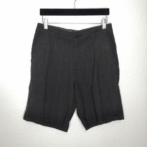 O'Neill Black Plaid Walking Flat Front Shorts 30